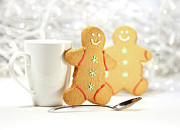 Frosting Prints - Hot holiday drink with gingerbread cookies  Print by Sandra Cunningham