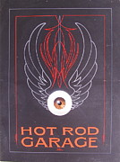 Flying Eyeball Framed Prints - Hot Rod Garage Framed Print by Alan Johnson