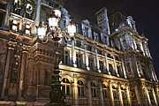 Nightlife Photo Posters - Hotel de Ville in Paris Poster by Elena Elisseeva