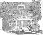 Historic Home Drawings Metal Prints - House / Home Rendering Metal Print by Marty Rice