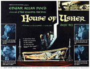 1960s Poster Art Posters - House Of Usher, Aka The Fall Of The Poster by Everett