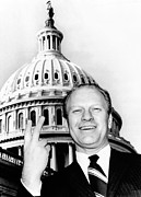 Gestures Photo Framed Prints - House Republican Leader Gerald Ford Framed Print by Everett