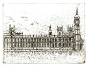 Old Houses Mixed Media Acrylic Prints - Houses of Parliament  Acrylic Print by Barbara Anna Cichocka