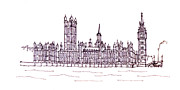 London England  Drawings - Houses of Parliament by Steve Huang