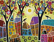 Karla G Paintings - Houses Trees and Birds by Karla Gerard