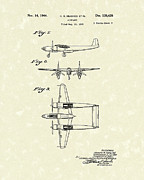Plane Drawings Prints - Howard Hughes Airplane 1944 Patent Art   Print by Prior Art Design