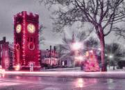 Town Clock Tower Posters - Hudson Holidays Poster by Kenneth Krolikowski