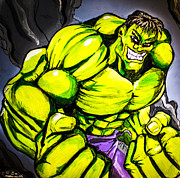 Hulk Painting Framed Prints - Hulk Framed Print by Chris  Leon