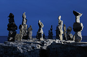 Inukshuk Art - Human Figures made from Stones at Night by Oleksiy Maksymenko
