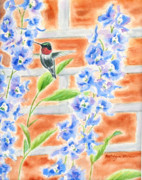 Hummingbird Paintings - Hummer and Delphiniums by Kathryn Duncan