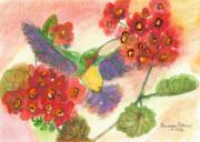Red Geraniums Mixed Media Prints - Hummer Print by Brenda Elkins