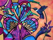 Uplifting Mixed Media Prints - Hummingbird and Stained Glass Hearts Print by Lori Miller