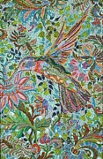 Blooming Paintings - Hummingbird by Erika Pochybova-Johnson
