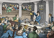Calcium Oxide Prints - Humphrey Davy Lecturing, 1809 Print by Science Source