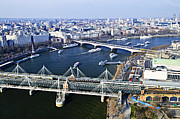 Tourist Attraction Prints - Hungerford Bridge seen from London Eye Print by Elena Elisseeva