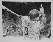 Baseball Art Drawings Originals - Hunter Pence by Paul Autodore