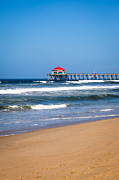 California Surf Framed Prints - Huntington Beach Pier in Orange County California Framed Print by Paul Velgos
