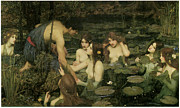 Mythology Paintings - Hylas and the Nymphs by John William Waterhouse