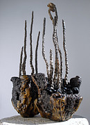 Pots Ceramics - Hypertufa primitive pottery sculpture by Randy Stewart