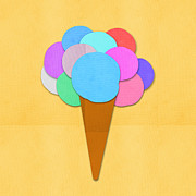 Text Mixed Media Prints - Ice Cream On Hand Made Paper Print by Setsiri Silapasuwanchai