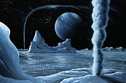 Coldest Posters - Ice Volcanoes On Triton, Artwork Poster by Richard Bizley