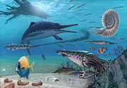 Mechanism Prints - Ichthyosaur And Prey, Artwork Print by Richard Bizley