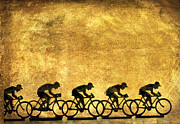 Biker Prints - Illustration of cyclists Print by Bernard Jaubert