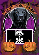 Retrievers Digital Art Metal Prints - Im Just a Lil Spooky Labrador Metal Print by Renae Frankz