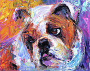 Pet Portrait Drawings Framed Prints - Impressionistic Bulldog painting  Framed Print by Svetlana Novikova