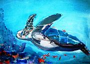 Sea Turtles Paintings - In Flight by Meredith Jones