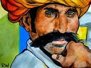 National Pastels Posters - Indian Man Poster by Rachel Wallace