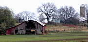 Red Barn In Winter Photos - Indiana by Peggy Starks