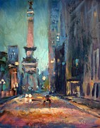 Monument Circle Prints - Indy Circle Monument Print by Donna Shortt