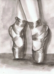 Wash Painting Originals - Ink Wash en Pointe by Sarah Farren