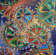 Cogs Paintings - Inner Workings by Nancy Hilliard Joyce