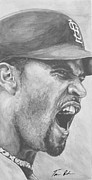 Mlb Art Prints - Intensity Pujols Print by Tamir Barkan
