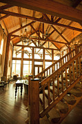 Wooden Stairs Posters - Interior of Large Wooden Lodge Poster by Will and Deni McIntyre