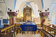 Judaic Framed Prints - Interior Of Synagogue Sanctuary Framed Print by Noam Armonn