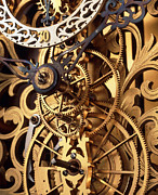 Mechanism Framed Prints - Internal Gears Within A Clock Framed Print by David Parker