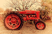 Red Tractors Framed Prints - International Harvester McCormick Farmall Farm Tractor . 7D10320 Framed Print by Wingsdomain Art and Photography