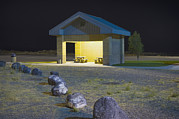 Interstate Framed Prints - Interstate Rest Area At Night. A Small Framed Print by Alan Majchrowicz
