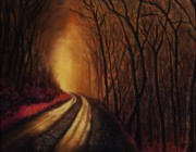 Roads Pastels Posters - Into the Light Poster by Frances Marino