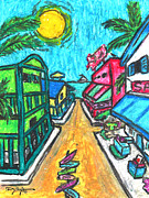 Island Art Pastels Prints - Island Market Print by William Depaula