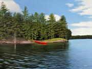Canoes Paintings - Island Retreat by Kenneth M  Kirsch