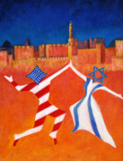 Jewish Paintings - Israel and USA Dancing by Jane  Simonson