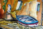 Row Boat Prints - Italian Riviera Print by Mindy Newman