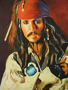 Icons Painting Originals - Jack Sparrow by Lesley Paul