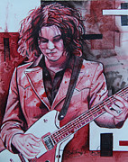Red Drawings Prints - Jack White Print by Joshua Morton