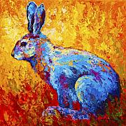 Rabbit Painting Posters - Jackrabbit Poster by Marion Rose