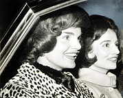 Leopard Print Framed Prints - Jacqueline Kennedy And Her Sister Lee Framed Print by Everett
